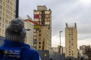 Flats demolition, Bradford. 14.12.2020