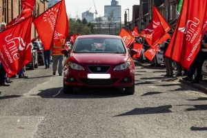 Mcr Peoples Assembly cavalcade to support Go North West bus drivers strike. 03.04.2021