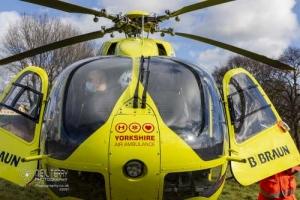Yorkshire Air Ambulance landing in Bradford. 18.02.2021